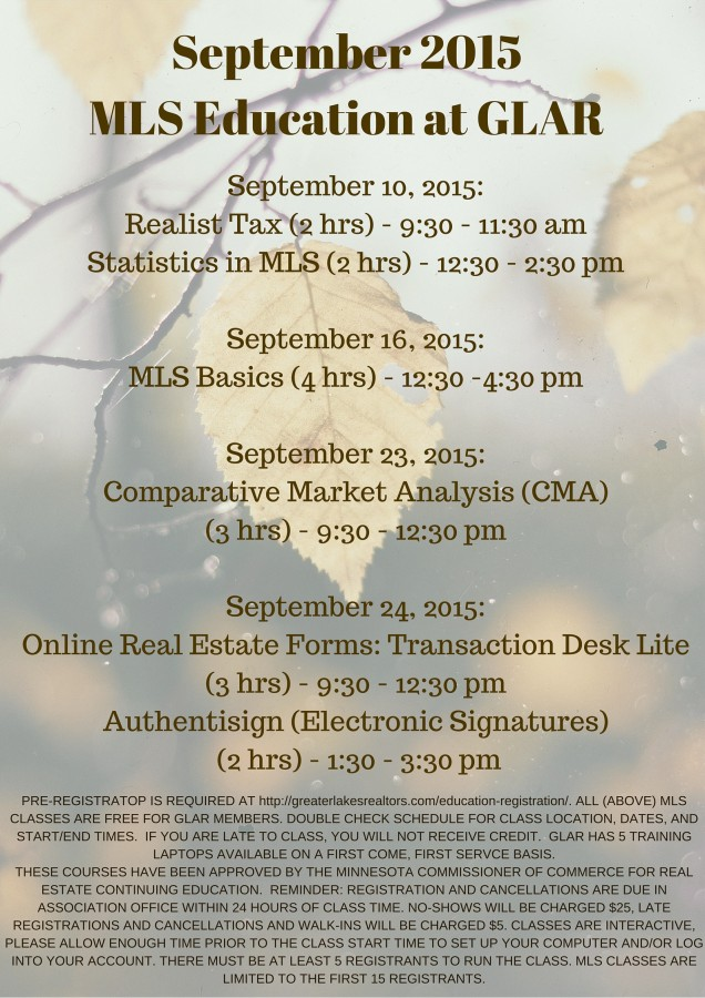 September 2015 MLS Education at GLAR