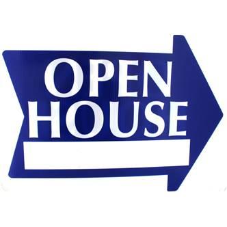 Open House Arrow Sign - Blue